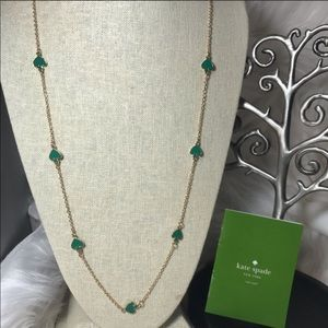 Kate Spade Green and Gold Spade Long Necklace